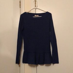 Tory Burch Navy Peplum Wool Sweater Size XL